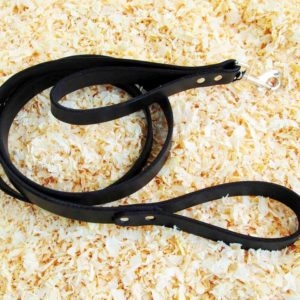 Black latigo leather double handle leash